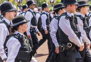 Menopausal women officers on duty: London. June 9 2018. A view of a large group of police officers during the Queens birthday celebrations of Trooping the Colour